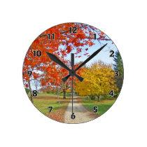 Autumn Leaves Fall Round Clock