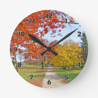 Autumn Leaves Fall Round Clock