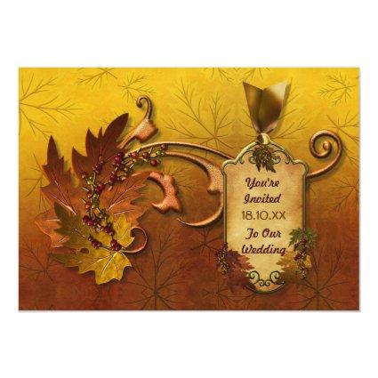 "Autumn Leaves Fall Wedding Invitation 5"" X 7"" Invitation Card"