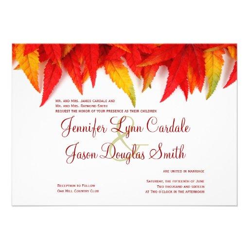Autumn Leaves Fall Wedding Invitations 45 X 625 Invitation Card