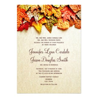 Autumn Leaves Fall Wedding Programs Full Color Rack Card