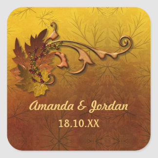 Autumn Leaves Fall Wedding Sticker