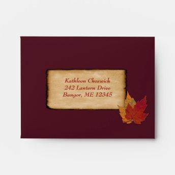 Autumn Leaves FAUX Burlap A2 Envelope (RSVP) Wine