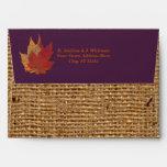 Autumn Leaves, FAUX Burlap A7 Envelope