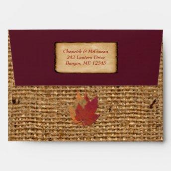 Autumn Leaves FAUX Burlap A7 Envelope(Invite) Wine