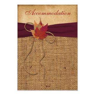Autumn Leaves, FAUX Burlap Enclosure Card - Wine