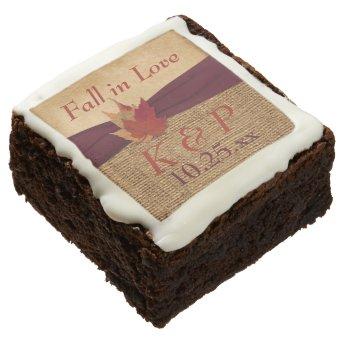 Autumn Leaves, FAUX Burlap Fall in Love Brownies Brownie