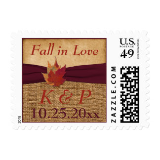 Autumn Leaves, FAUX Burlap Fall in Love Postage