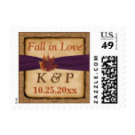 Autumn Leaves FAUX Burlap Fall in Love Postage