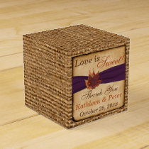 Autumn Leaves, FAUX Burlap Favor Box - Purple
