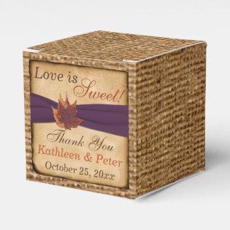 Autumn Leaves, FAUX Burlap Favor Box - Purple