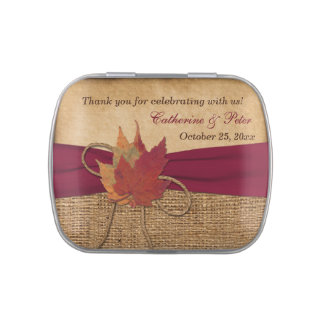 Autumn Leaves, FAUX Burlap Favor Candy Tin - RED