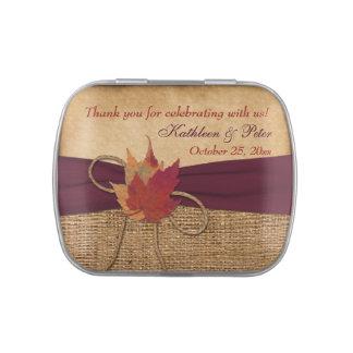 Autumn Leaves, FAUX Burlap Favor Candy Tin - Wine
