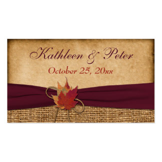 Autumn Leaves, FAUX Burlap Favor Tag - Wine Double-Sided Standard Business Cards (Pack Of 100)