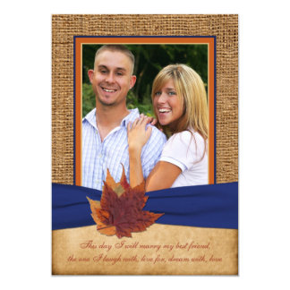 Autumn Leaves, FAUX Burlap PHOTO Wedding Invite 2
