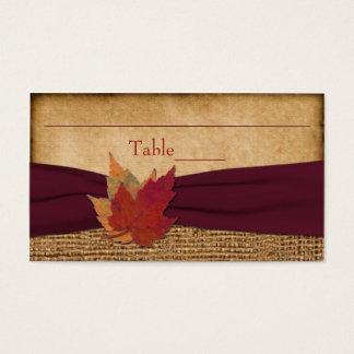 Autumn Leaves, FAUX Burlap Place Card - Wine