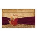 Autumn Leaves, FAUX Burlap Place Card - Wine Business Card Template