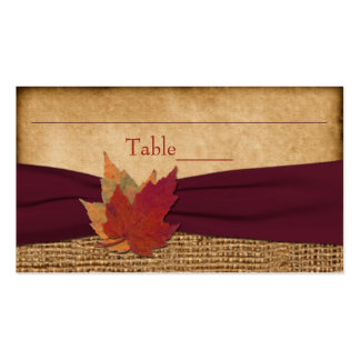 Autumn Leaves, FAUX Burlap Place Card - Wine Double-Sided Standard Business Cards (Pack Of 100)