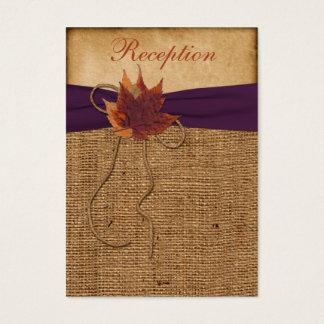 Autumn Leaves FAUX Burlap Reception Enclosure Card