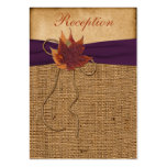 Autumn Leaves FAUX Burlap Reception Enclosure Card Large Business Cards (Pack Of 100)