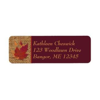 Autumn Leaves, FAUX Burlap Return Address Label 2