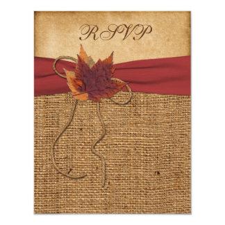 Autumn Leaves, FAUX Burlap RSVP Card