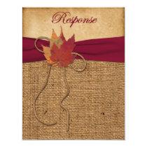 Autumn Leaves, FAUX Burlap RSVP Card 3