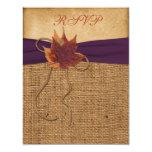Autumn Leaves, FAUX Burlap RSVP Card Custom Invitation