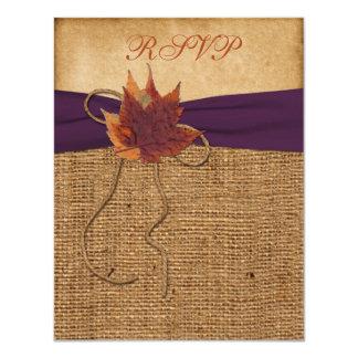 "Autumn Leaves, FAUX Burlap RSVP Card 4.25"" X 5.5"" Invitation Card"