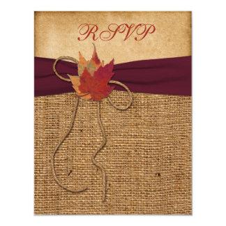 "Autumn Leaves, FAUX Burlap RSVP Card - Wine 4.25"" X 5.5"" Invitation Card"