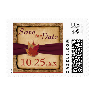 Autumn Leaves, FAUX Burlap Save the Date Postage