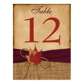 Autumn Leaves FAUX Burlap Table Number Card - Wine