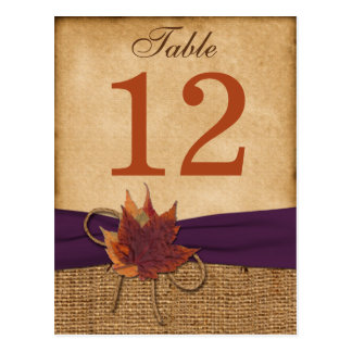 Autumn Leaves, FAUX Burlap Table Number Post Card