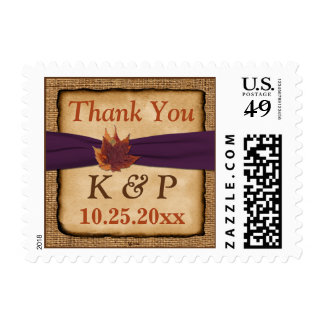 Autumn Leaves FAUX Burlap Thank You Postage