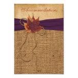 "Autumn Leaves, FAUX Burlap Wedding Enclosure Card 3.5"" X 5"" Invitation Card"