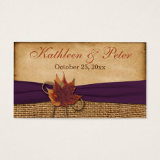 Autumn Leaves Faux Burlap Wedding Favor Tag at Zazzle