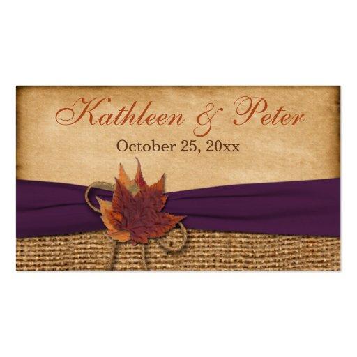 Autumn Leaves FAUX Burlap Wedding Favor Tag Business Cards