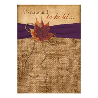 Autumn Leaves FAUX Burlap Wedding Invitation Invitation