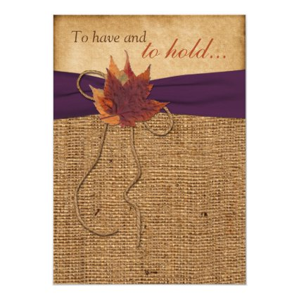 "Autumn Leaves, FAUX Burlap Wedding Invitation 5"" X 7"" Invitation Card"