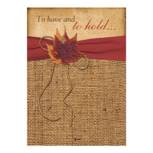 Autumn Leaves FAUX Burlap Wedding Invitation 5 X 7 Invitation Card