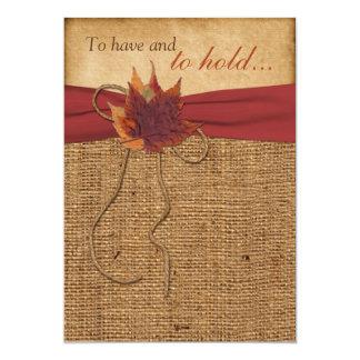 Autumn Leaves, FAUX Burlap Wedding Invitation