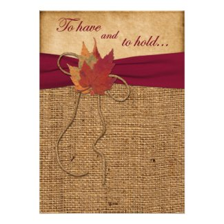 Autumn Leaves, FAUX Burlap Wedding Invitation -Red