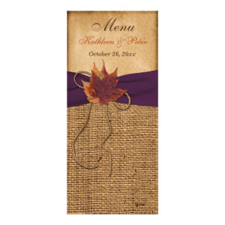 Autumn Leaves, FAUX Burlap Wedding Menu Card Rack Card Template