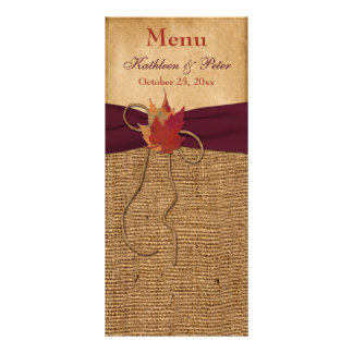 Autumn Leaves FAUX Burlap Wedding Menu Card - Wine Rack Cards