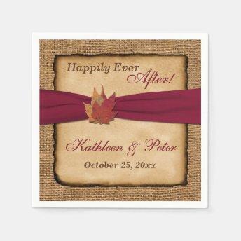 Autumn Leaves, FAUX Burlap Wedding Napkins 5 Disposable Napkin