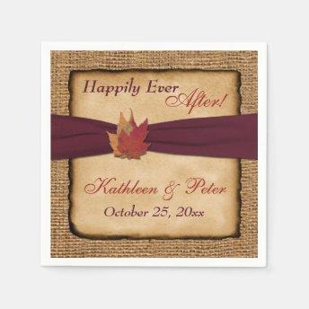 Autumn Leaves, FAUX Burlap Wedding Napkins 6 Paper Napkins