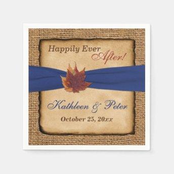 Autumn Leaves, FAUX Burlap Wedding Napkins 7 Disposable Napkin