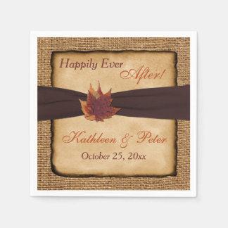 Autumn Leaves, FAUX Burlap Wedding Napkins 8
