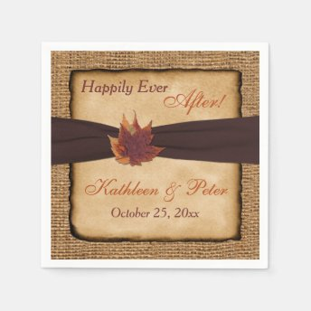 Autumn Leaves, FAUX Burlap Wedding Napkins 8 Paper Napkins