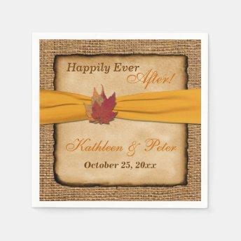 Autumn Leaves, FAUX Burlap Wedding Napkins 9 Disposable Napkins